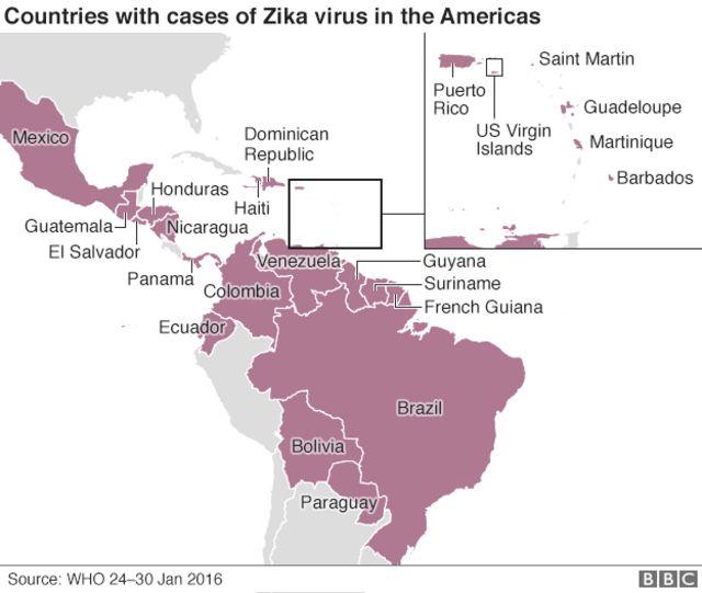 ジカ感染例が報告された中南米各国(1月24日~30日、WHO調べ)