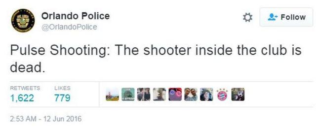 Tiroteio na Pulse: O atirador dentro da boate está morto, diz tuíte da polícia de Orlando