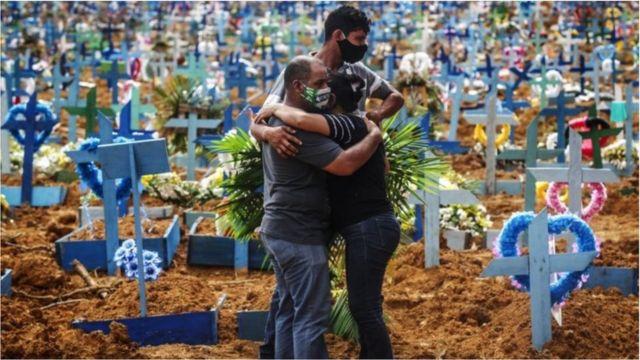 Família se abraça em cemitério durante a pandemia