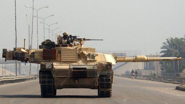 An American tank patrols in Dora, Baghdad