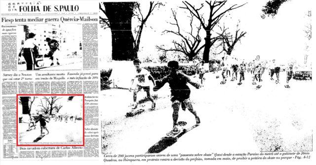 Capa da Folha de S. Paulo (24.jun.1988) retrata protesto de skatistas contra proibição do skate no Parque do Ibirapuera