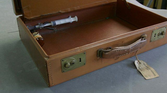 suitcase with built-in syringe