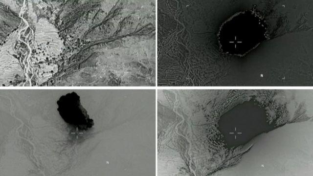 لحظههای فرو افتادن و انفجار «مادر همه بمبها» در ولسوالی اچین ولایت ننگرهار افغانستان
