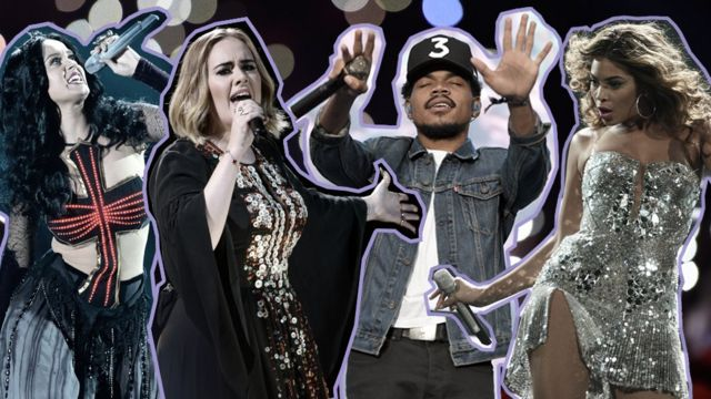 Katy Perry, Adele, Chance the Rapper, Beyonce