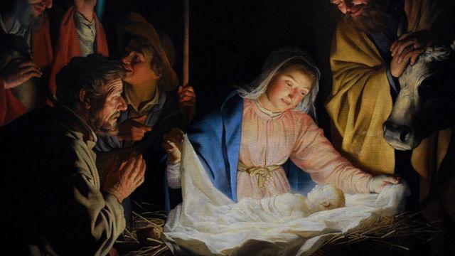 Pintura del nacimiento del niño Jesús
