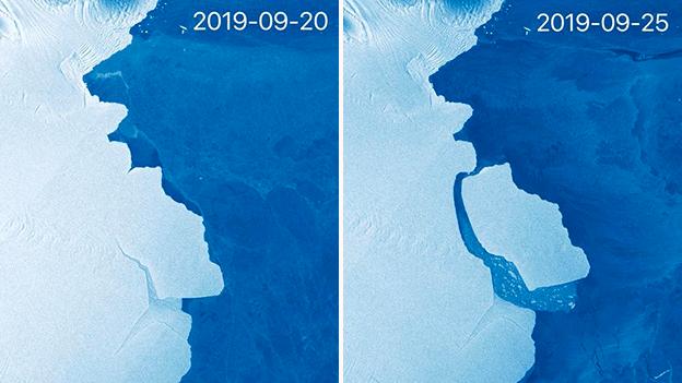 На супутникових знімках можна побачити айсберг до і після того, як він відколовся від льодовика