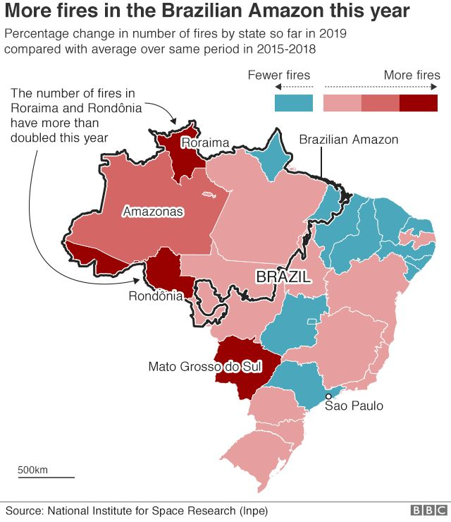 Percentage change in number of fires by state in Brazil so far