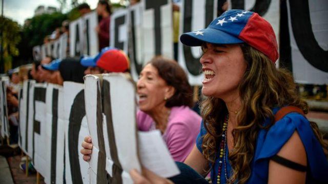 Protesta de la oposición en Venezuela.