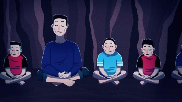 Ilustração: técnico ensina meninos a meditar