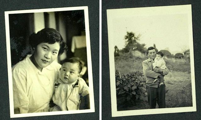 Old family album photos of Tomoko as a baby with her mother and father