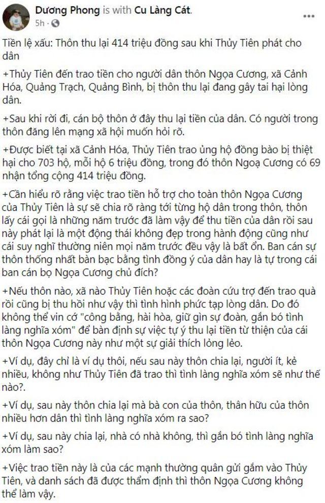 Nhà báo Dương Phong nêu ra những vấn đề bất cập của chủ trương của thôn Ngọa Cương