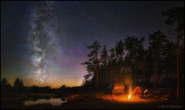 Acampanado debaixo das estrelas na Rússia.