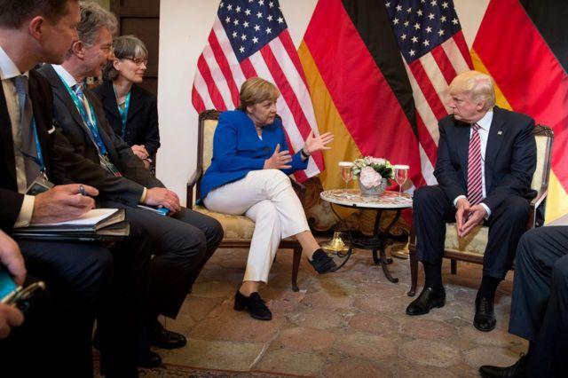 德國總理默克爾在G7峰會上與特朗普會面。