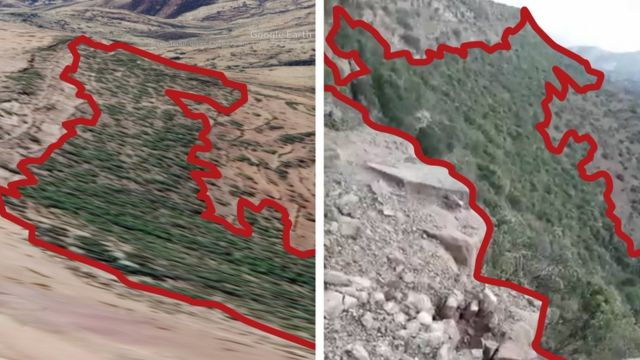 Vegetation seen in the footage was matched against the 3D satellite model