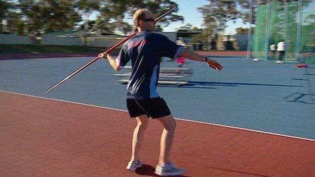 Amputee javelin thrower in training