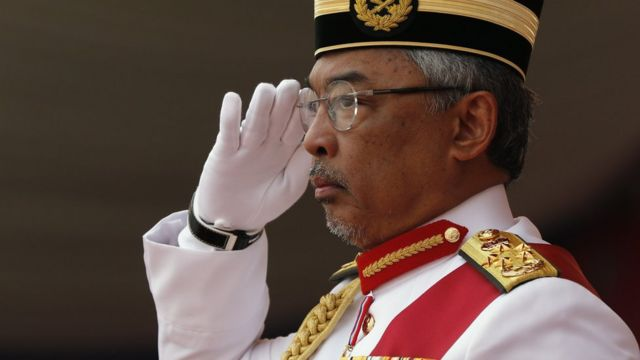"The King of Malaysia Sultan Abdullah Sultan Ahmad Shah salutes during the Trooping the Color ceremony, held in conjunction with the national day of celebration of the Malaysian King""s birthday on 09 September; in Putrajaya, Malaysia, 12 September 2019"
