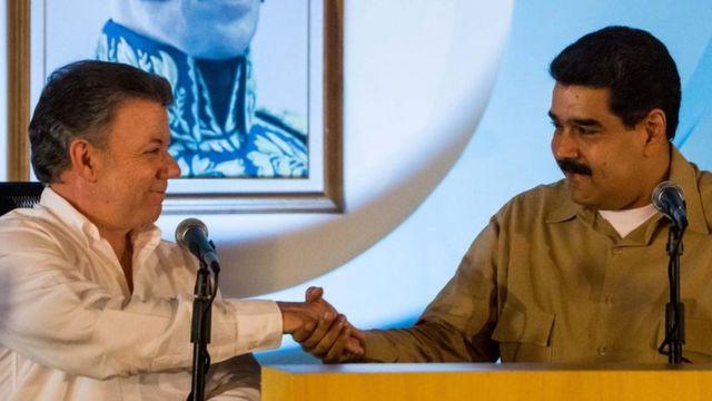Santos y Maduro se reunieron en la localidad venezolana de Puerto Ordaz.