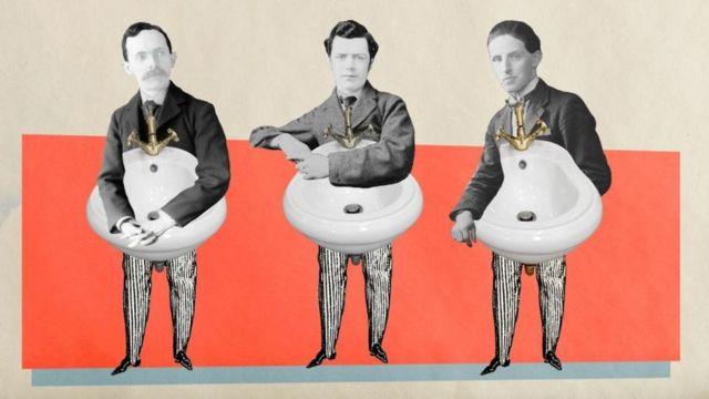 Ilustração de homens com bidês