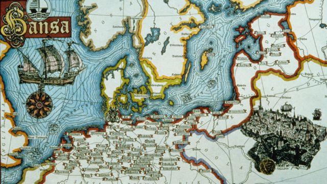 Mapa que muestra la Liga Hanseática