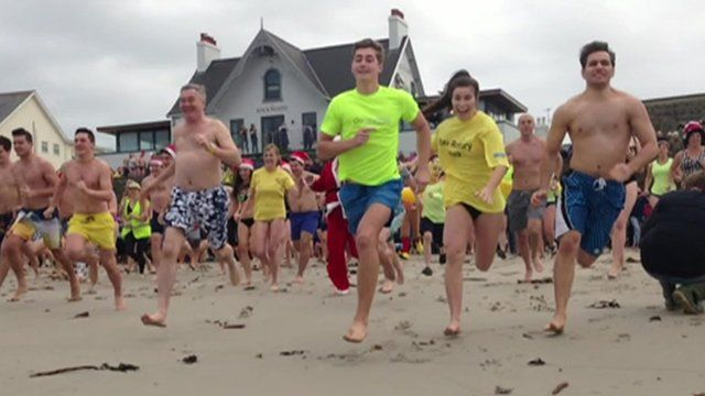 Boxing day swimmers race into the sea in Guernsey