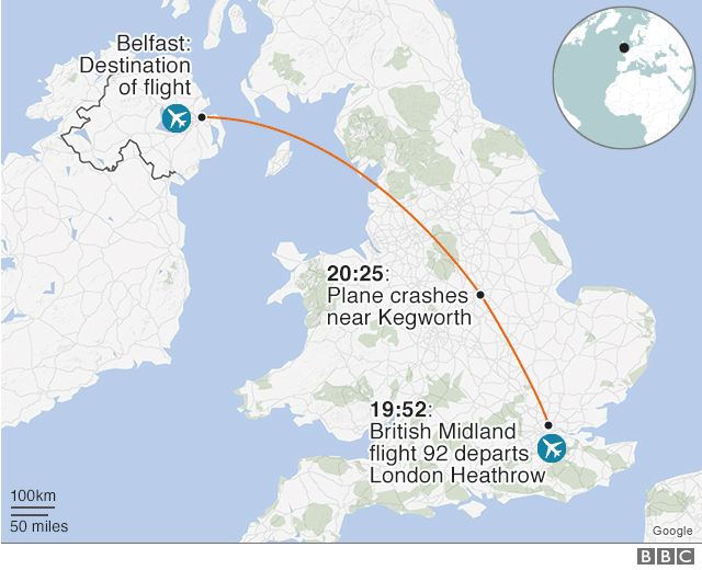 Map of where the plane took off from and where it was heading