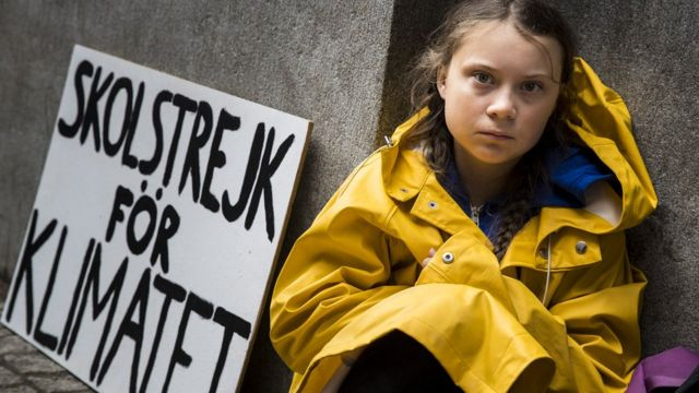 Fifteen year old Swedish student Greta Thunberg leads a school strike and sits outside of Riksdagen, the Swedish parliament building, in order to raises awareness for climate change on August 28, 2018 in Stockholm, Sweden.