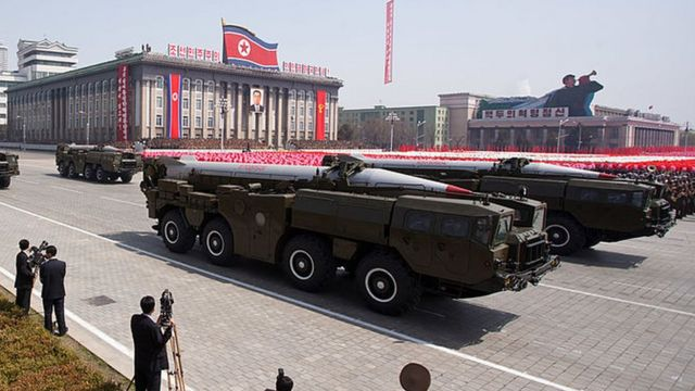 Hwasong missiles are displayed during a military parade in honour of the 100th birthday of the late North Korean leader Kim Il-Sung in Pyongyang on 15 April 2012.