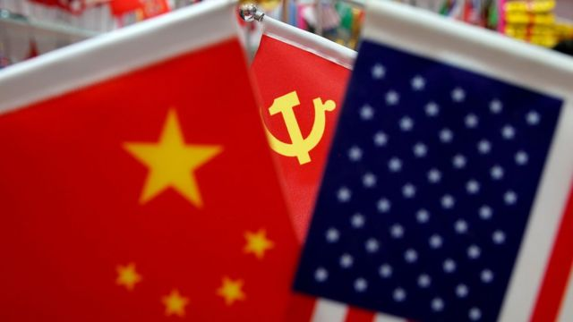 us and china flags in Yiwu, China