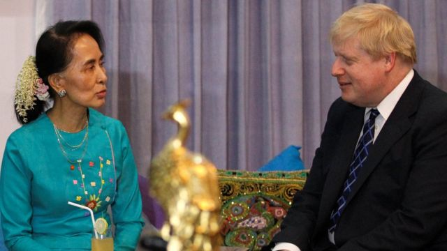 "British Foreign Secretary Boris Johnson (R) is welcomed by Myanmar""s leader Aung San Suu Kyi in Naypyidaw, Myanmar January 20, 2017."