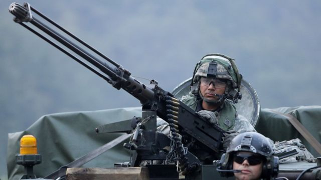 U.S. soldiers on M113 armored vehicles take part during the Warrior Strike VIII exercise at the Rodriguez Range on September 19, 2017 in Pocheon, South Korea.