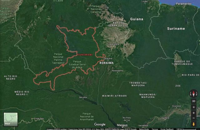 Mapa da terra Yanomami