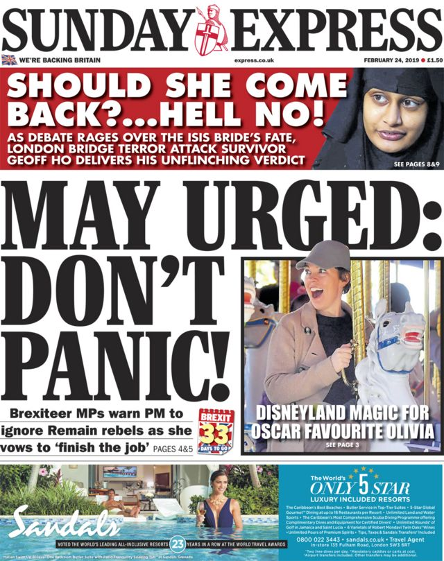 Newspaper headlines: Cabinet 'splits' and 'don't panic' pleas