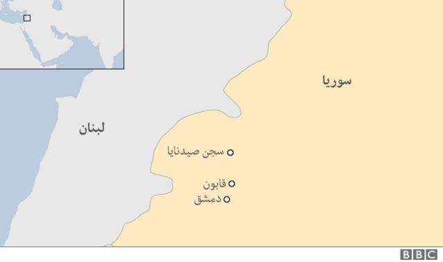 خريطة توضع موقع صيدنايا في سوريا