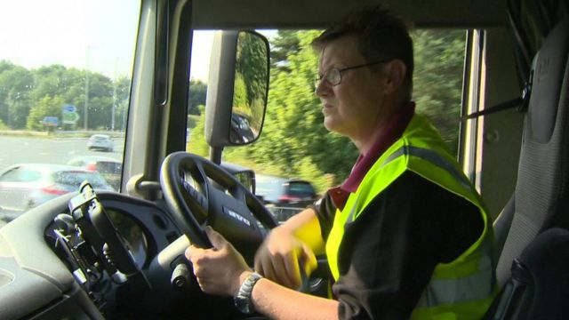 Woman driving lorry