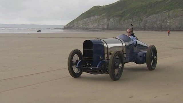 Don Wales drives the iconic Blue Bird
