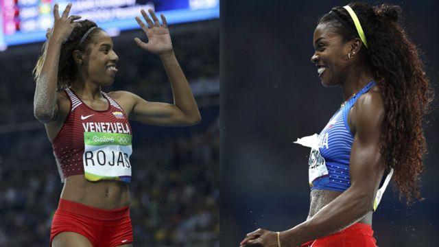 La venezolana Yulimar Rojas (izquierda) y la colombiana Catherine Ibargüen (derecha)