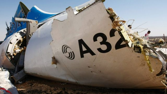 A piece of wreckage from Russian MetroJet Airbus A321 at the crash site in Sinai, Egypt