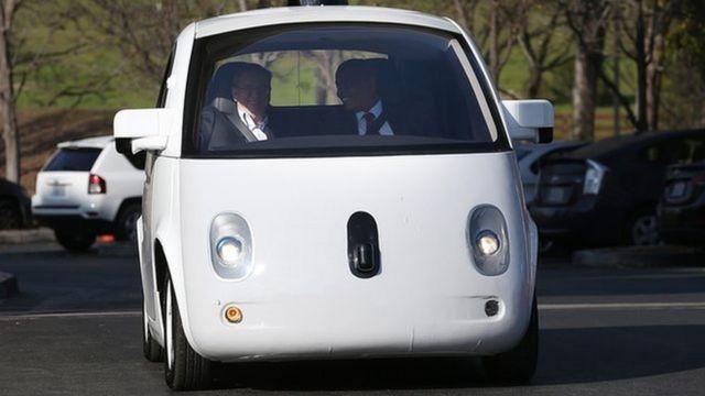 グーグルの自動運転車(同社本社で2015年2月に撮影)