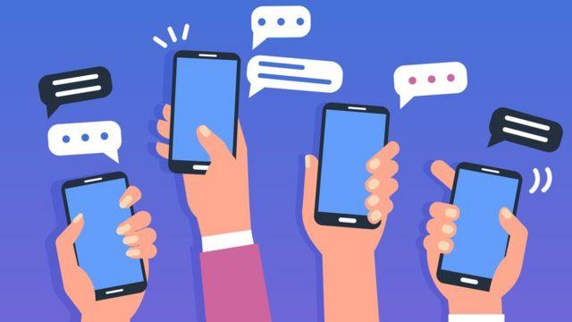 Ilustração sobre celulares