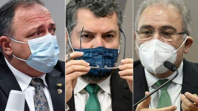 Pazuello, Ernesto Araújo e Marcelo Queiroga