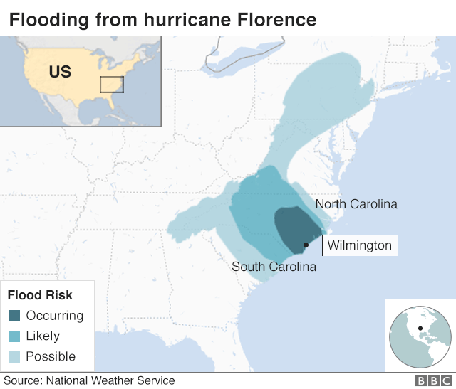 Map showing flooding from Florence