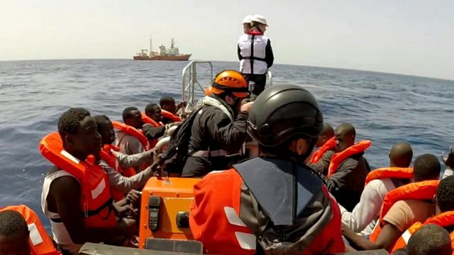 Migrants being rescued