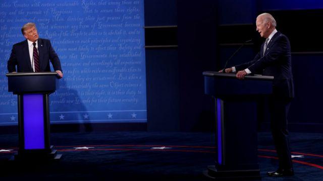 Debate presidencial entre Trump y Biden.