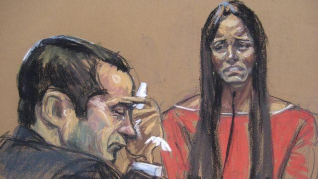 Proyecto judicial de Gilberto Valle durante su juicio, realizado por Jane Rosenburg mientras su esposa, Kathleen Mangan-Valle, testificaba en su contra en Nueva York el 25 de febrero de 2013