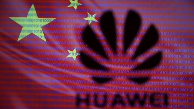 Huawei logo on Chinese flag