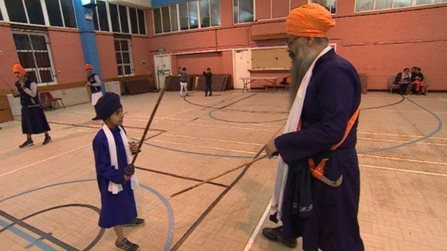 Gatka teacher and student