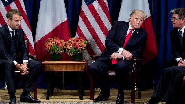 Emmanuel Macron, Donald Trump and translator