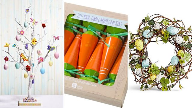 easter tree, carrot crackers and easter wreath