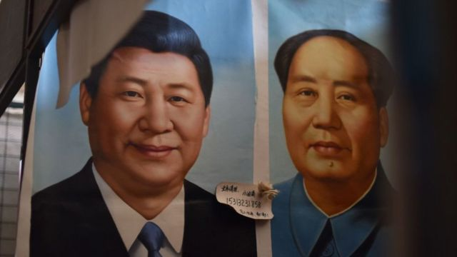 毛泽东和习近平的照片