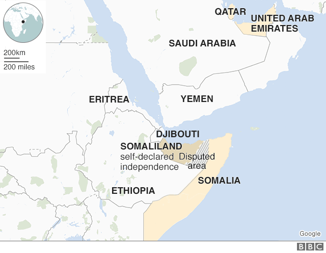 Map of Somalia and its surrounds